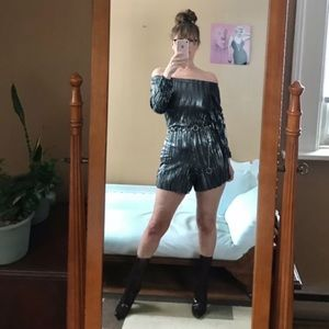 BLACK SILVER LAME ROMPER LONG SLEEVE PEASANT TOP